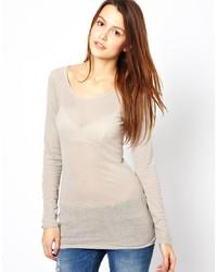 Женская бежевая футболка с длинным рукавом от MiH Jeans