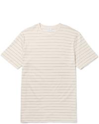 Бежевая футболка с круглым вырезом в горизонтальную полоску