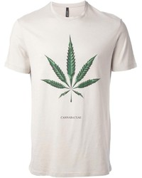 Бежевая футболка с круглым вырезом с принтом