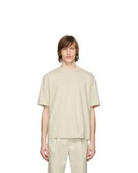 Мужская бежевая футболка с круглым вырезом от Deveaux New York