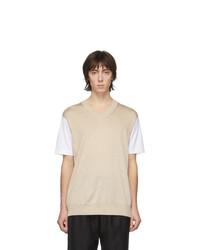 Мужская бежевая футболка с круглым вырезом от Junya Watanabe