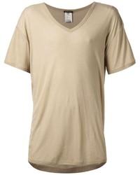 Мужская бежевая футболка с v-образным вырезом от Ann Demeulemeester