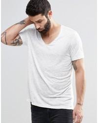 Мужская бежевая футболка с v-образным вырезом от Asos