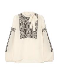 Бежевая шелковая блузка с длинным рукавом с вышивкой от REDVALENTINO