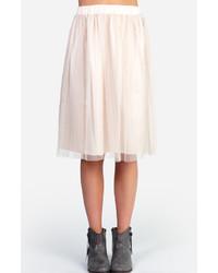 Бежевая юбка-миди из фатина
