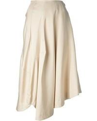 Бежевая юбка-миди со складками