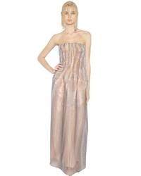 1b1bb46e0ad Купить бежевое вечернее платье с принтом - модные модели вечерних платьев