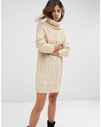 Женское бежевое вязаное платье-свитер от Asos
