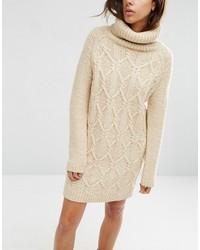 adca7be49b6 ... Бежевое вязаное платье-свитер от Asos ...