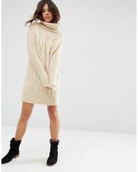 e5c18fb8df3 ... Бежевое вязаное платье-свитер от Asos