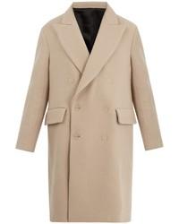 Бежевое длинное пальто