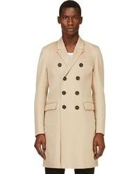Мужское бежевое длинное пальто от Burberry