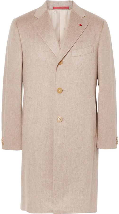мужское бежевое длинное пальто от Isaia где купить и с чем носить