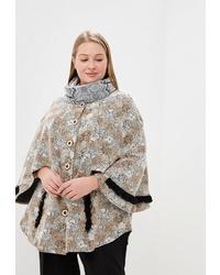 Бежевое пальто-накидка с принтом от Спартак