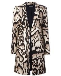 Бежевое пальто с леопардовым принтом
