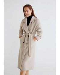 Женское бежевое пальто от Mango