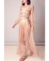 Бежевое платье-макси из фатина в горошек