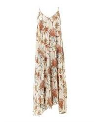 Бежевое платье-макси с цветочным принтом