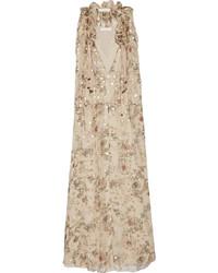 Бежевое платье-макси с цветочным принтом от Chloé