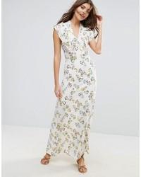 Бежевое платье-макси с цветочным принтом от Liquorish