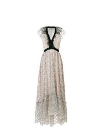 Бежевое платье-макси с цветочным принтом от Philosophy di Lorenzo Serafini