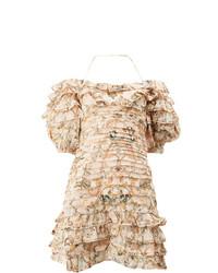 Женское бежевое платье прямого кроя с рюшами от Zimmermann
