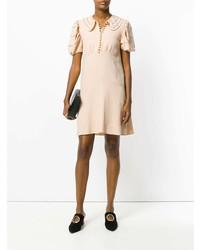 Женское бежевое платье прямого кроя от Chloé