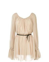 Женское бежевое платье прямого кроя от Mugler