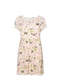 Бежевое повседневное платье с принтом