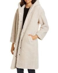Бежевое флисовое пальто