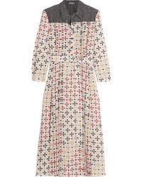 Бежевое шелковое платье-миди с принтом