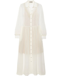 Бежевое шелковое платье-миди