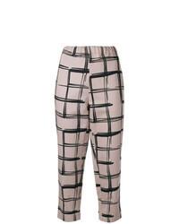 Бежевые брюки-галифе в клетку