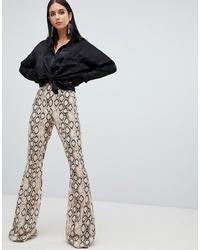 Бежевые брюки-клеш с принтом от Missguided