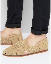 Бежевые замшевые сандалии