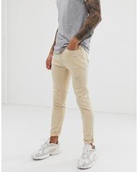 Мужские бежевые зауженные джинсы от Liquor N Poker