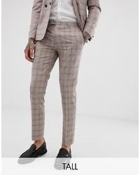 Мужские бежевые классические брюки в клетку от Twisted Tailor