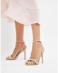 Бежевые кожаные босоножки на каблуке с украшением от New Look