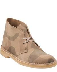Бежевые кожаные ботинки дезерты