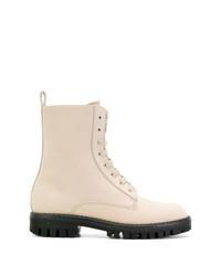 Бежевые кожаные ботинки на шнуровке