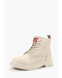 Женские бежевые кожаные ботинки на шнуровке от Sprincway