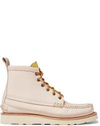 Бежевые кожаные повседневные ботинки