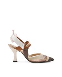 Бежевые кожаные туфли от Fendi