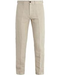 Бежевые льняные брюки чинос