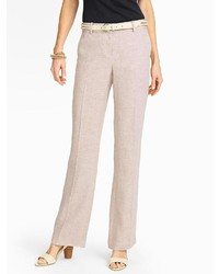 Бежевые льняные классические брюки