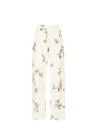 Бежевые льняные широкие брюки с принтом от Matin