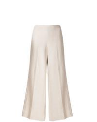 Бежевые льняные широкие брюки от Theory