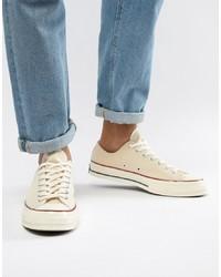 Мужские бежевые низкие кеды из плотной ткани от Converse