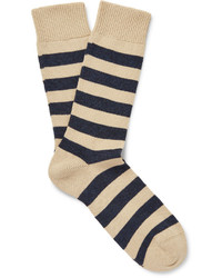 Мужские бежевые носки в горизонтальную полоску от Oliver Spencer