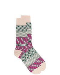 Бежевые носки с принтом
